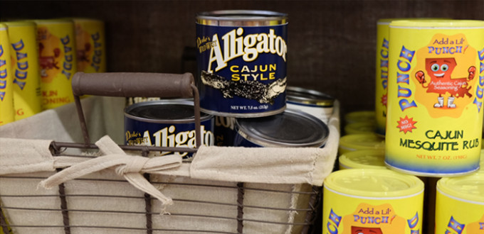 a can of Cajun-Style Alligator and a shaker of Punch Cajun Mesquite Rub