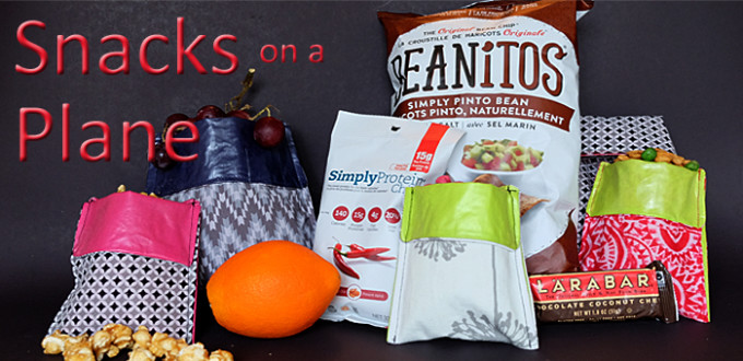 various snacks that travel well in sewn reusable snack bags
